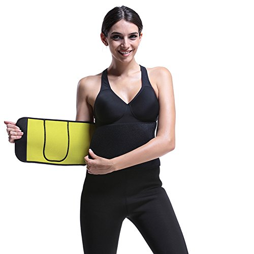 FeelinGirl Adjustable Waist Trimmer Belt Workout Enhancer Stomach Body Wrap & Back Lumbar Support Size M Black