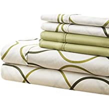 Spirit Linen, Inc Hotel 5th Ave Twin Green Circles 4 Piece Bellagio Home Collection Sheet Set