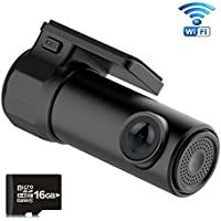 Car DVR, Awakelion WiFi Car Dash Cam HD Dashboard Camera Recorder with 360° Rotate Angle,G-Sensor,WDR,Loop Recording, 16GB SD Card Included