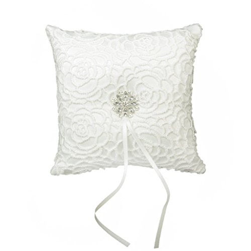 CJESLNA Wedding Ring Satin Diamante Flower Pillow, 15cmx15cm, White