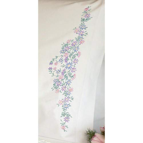 Dimensions Wildflowers Pillowcase Pair Stamped Embroidery Kit