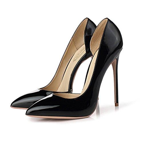 Pointé Chaussures 12CM Black Sexy Femmes Heels OL Ladies Court Black Avec Nightclubs Chaussures PxqZaAZn