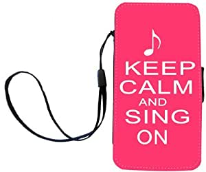 Rikki Knight Keep Calm and Sing On Tropical Pink Color Flip Wallet Case with Magnetic Flap for Apple iPhone 4 and 4s