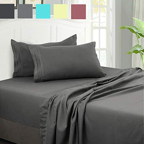 FAIRYLAND Bed Sheet Set 4-Piece with 14-Inch Deep Pocket Fitted Sheet Hypoallergenic 1800 Series Microfiber Bed Sheets Wrinkle, Shrink, Fade, Stain Resistant(Full,Dark Grey)
