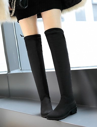XZZ  Damen-Stiefel-Kleid   Lässig-Kunstleder-Niedriger Absatz-Rundeschuh Reitstiefel-Schwarz   Reitstiefel-Schwarz Absatz-Rundeschuh 85d41a
