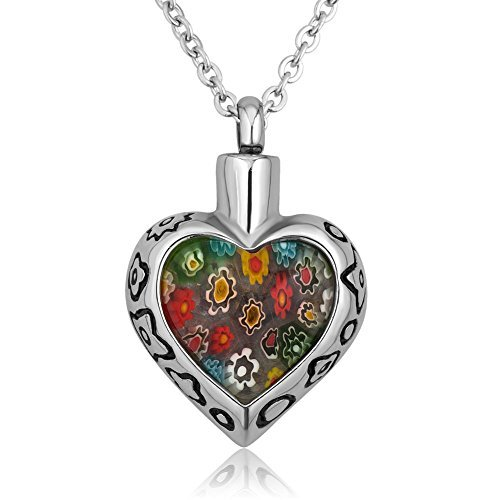 Q&Locket Heart Colorful Flower Urn Necklaces For Ashes Cremation Jewelry
