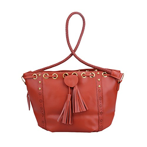 Bag Shoulder PU Band 01 Tassel Ladies Bag Braided Spring Crossbody Demiawaking Women Leather Bucket ZAwBvAznX