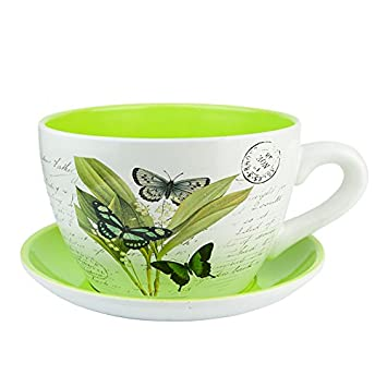 Ceramic Large Teacup Saucer Planters Vintage Butterfly Amazon