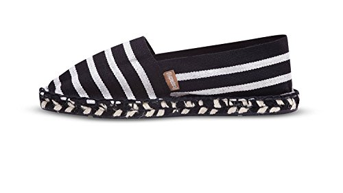 Espadrij Unisex Schuhe Damen und Herren, Zebre, Klassische Espadrilles Aus Canvas-Stoff und Gemütlicher und Wasserabweisender Jutesohle mit Streifenmuster Noir-Ecru
