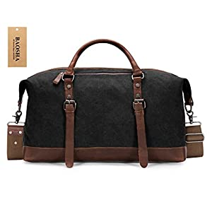 BAOSHA HB-14 Oversized Canvas Weekender Bag Travel Carry On Duffel Tote Bags Weekend Overnight Travel Bag Unisex Travel Holdall Handbag with PU Leather Decoration (Black)
