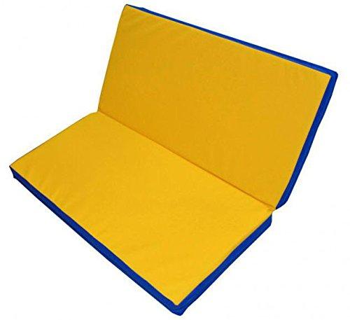 Folding Gymnastics Mat/ Gym Mat/ Sports Kids Children Gymnastics Mat/Landing Mat/ Tumbling Mat/ Stretching Mat/ Yoga Mat 40''x40''x4'' Blue-Yellow
