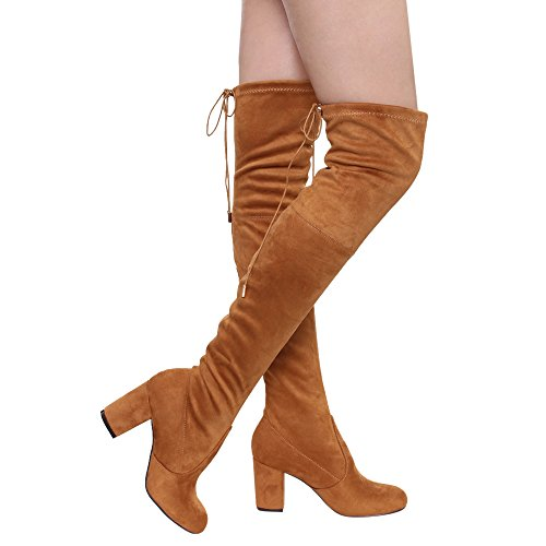 Women's Thigh High Boots Stretchy Drawstring Over The Knee Chunky Block Stiletto Heel Boots Camel 11 ()