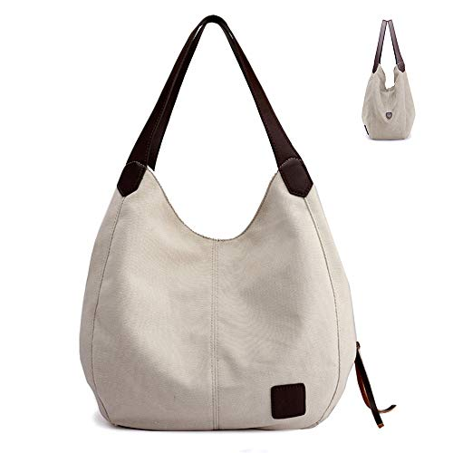 Lady Canvas Simple Shoulder Bucket Tote Causal Fashion Large Capacity Bag with PU Handle Stylish Look Hobo Bag Multifunctional Handbag for Travel Library Beach Shopping Beige