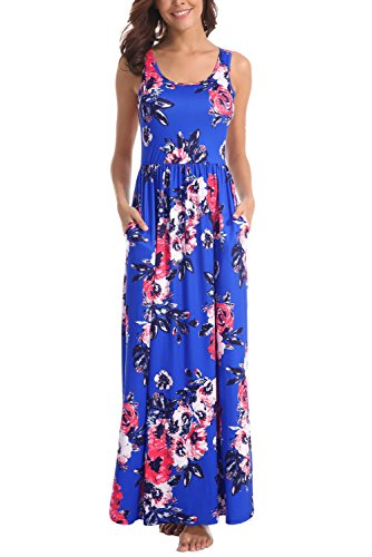 Zattcas Women Floral Tank Maxi Dress Pocket Sleeveless Casual Summer Long Dress,Cobalt,Large