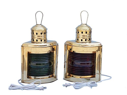 Solid Brass Port and Starboard Electric Lantern 14″ – Electric Port and Starboard