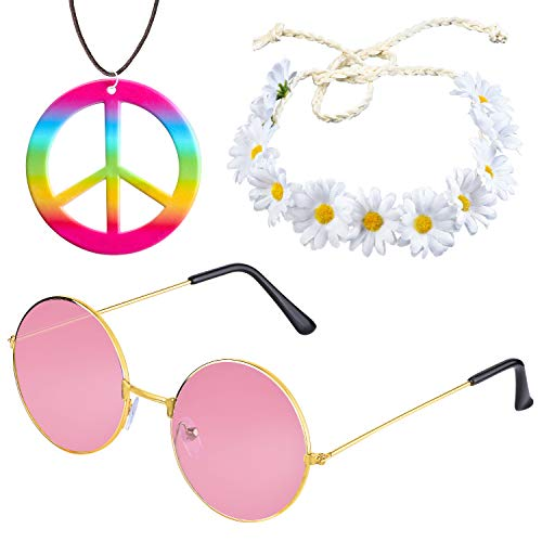 Beelittle Hippie Costume Set - 60's Style Retro Vintage Glasses Peace Sign Necklace Sunflower Crown Hair Band 60s Hippie Dressing Accessory Set (B) ()