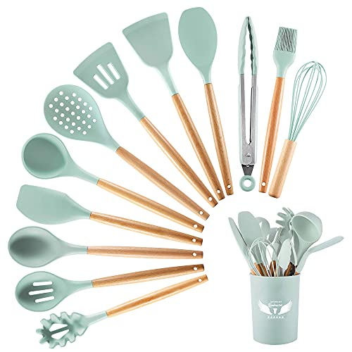 PDJW Silicone Kitchen Utensils Set, 13PCS Silicone Cooking Utensils with Utensils Holder, Mint Green Silicone Spatula Spoons Set Turner Tongs with Wooden Handle, Best Kitchen Utensils for Cooking