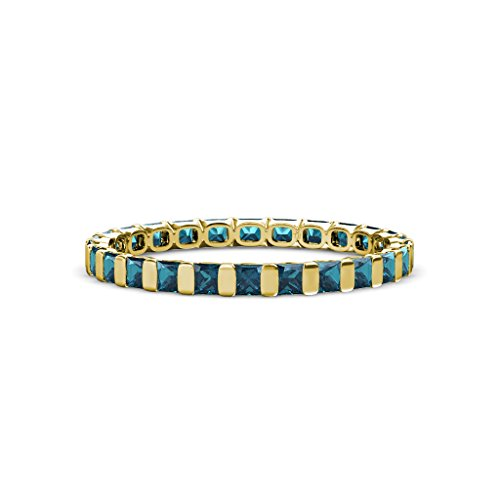 Blue Diamond 2.5mm Common Channel Set Eternity Band 1.80-2.10 Carat tw in 14K Yellow Gold.size 4.25 (Diamond Tw 2ct Eternity Band)