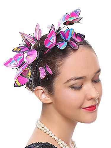 Butterfly Fascinator Hat Monarch Derby Headband Festival Crown Halloween Costume Bohemian Wedding Headpiece (C-Rose)]()