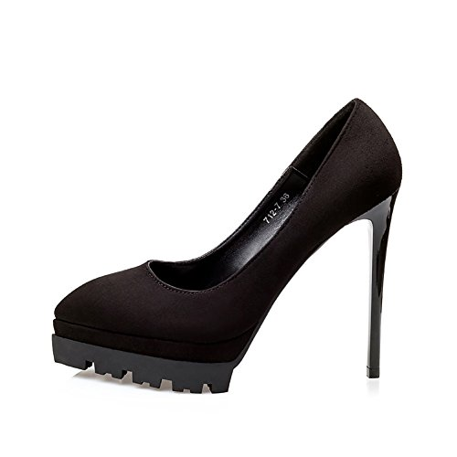 No.66 Town Women's High Heel Pointed-toe Platform Dress Pumps Court Shoes Shoes Black(suede)