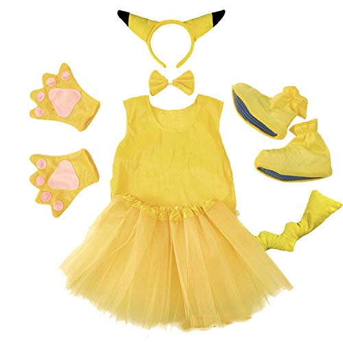 Halloween Party CPokeMon Pikachu Ears Tutu Headband Gloves Pants with Tail Set,Style 3,L -