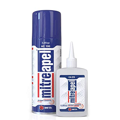 MITREAPEL Super CA Glue (0.85 oz.) with Spray Adhesive Activator (3.35 fl oz.) - Crazy Craft Glue for Wood, Plastic, Metal, Leather, Ceramic - Cyanoacrylate Glue for Crafting and Building (1PACK) (Starbond Glue)