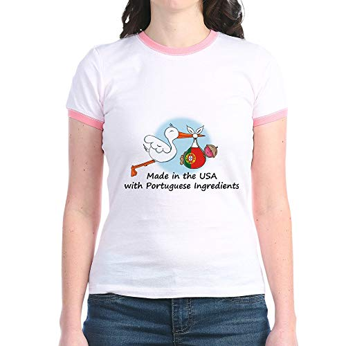 CafePress Stork Baby Portugal USA Jr. Ringer T Shirt Jr. Ringer T-Shirt, Slim Fit 100% Cotton Ringed Shirt - Ringer Team Drinking T-shirt