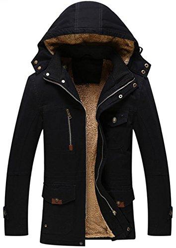 Style Chaud Fr8803 Fourrure Blouson Longues Coton Parka Doublure Épaisse Noir Homme Manteau Jiinn D'hiver En À Capuche Veste Militaire Y66xFq