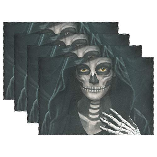 (Top Carpenter 4pcs Halloween Makeup Skeleton Placemat - 12x18in - Washable Heat Crease Resistant Printed Place Mat for Kitchen Dinner)