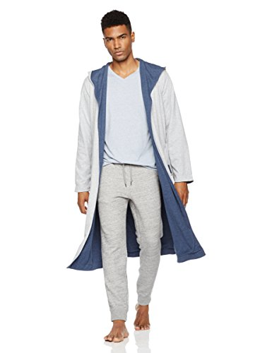 Rebel Canyon Young Men's Long Sleeve Shawl Collar Reversible Jersey Robe X-Large Lt. Grey Heather Canyon Cotton Robe