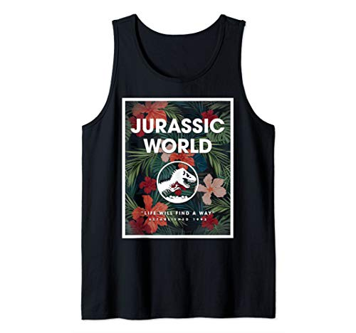 Jurassic World 2 Life Will Find A Way Est. 1985 Floral Panel Tank Top