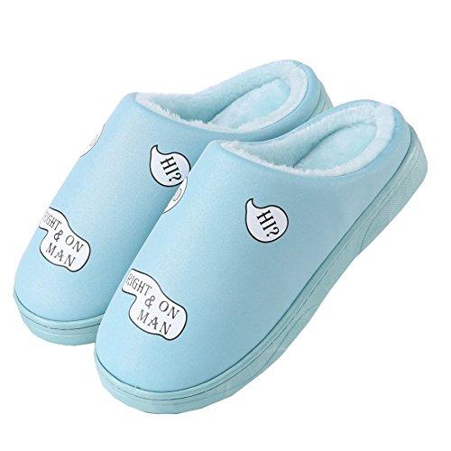 cuero de la PU Impermeable zapatillas de casa-Unisexo invierno calentar felpa Botín con los zapatos cielo azul