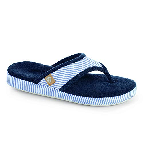 Acorn Women's Spa Thong with Premium Memory Foam Flip Flop, Blue Stripe, Large / 8-9 Regular US