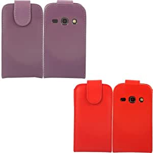 2 Pack Voltear Concha Caso Cubrir Para Samsung Galaxy Fame S6810 / Purple And Red