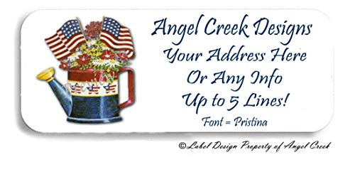 60 Country Americana Watering Can USA Flag Personalized Return Address Labels ()