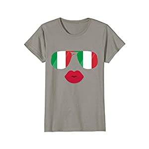 Womens Flag Italia Sunglasses Lips T-shirt Funny Italian Top Tee Medium Slate