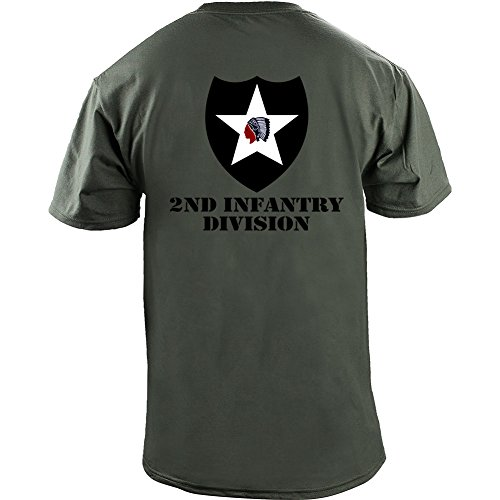 Army 2nd Infantry Division Full Color Veteran T-Shirt (2XL, Green)