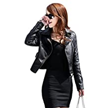 Awtang Women Girls Slim Zip Up Long Sleeve Faux Leather PU Jacket Coat