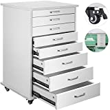 Happybuy Mobile Cabinet Cart 7 Drawers Denta Medical Utility Mobile Rolling Assistant's Cart with Wheels Modern Rolling Storage Cabine for Medical Home Office