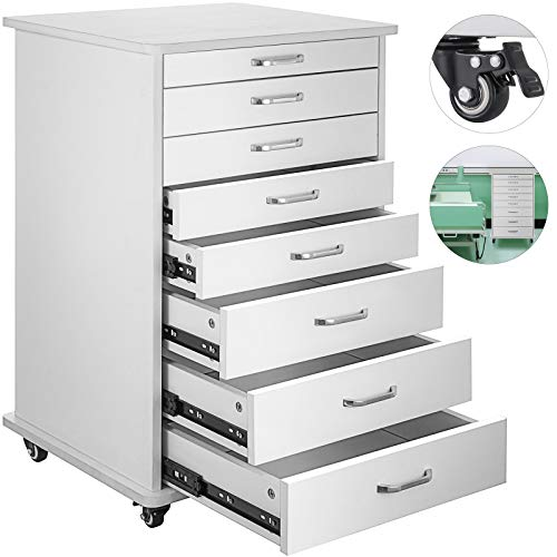- Happybuy Mobile Cabinet Cart 7 Drawers Denta Medical Utility Mobile Rolling Assistant's Cart with Wheels Modern Rolling Storage Cabine for Medical Home Office