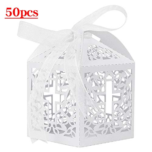 - Lucky Monet 25/50/100PCS Cross Laser Cut Candy Gift Boxes Baptism Favor Boxes for Christening Baby Shower Wedding Party Church Decoration with Ribbon (50pcs, White)