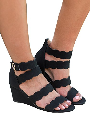 Womens Gladiator Wedge Sandals Open Toe Ankle Strap Cut Out Zip-up Summer Dress Shoes