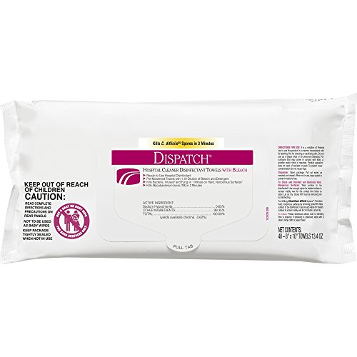 Dispatch Hospital Cleaner Disinfectant Towels with Bleach, 40 Count Patient Transport Pack (For Healthcare Use) by Dispatch (Image #5)