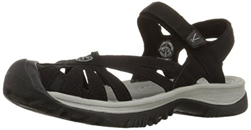 KEEN Women's Rose Sandal, Black/Neutral Gray, 8 B - Medium