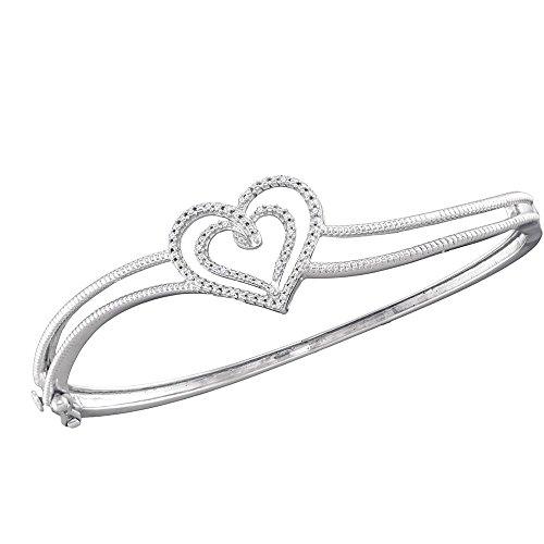 - Sterling Silver Round Diamond Double Heart Bangle Bracelet 0.48 Cttw
