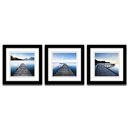 Poster Set Piece 2 - A Cup of Tea 3 Piece Set Framed Modern Bay Wall Art Decor Seascape Picture Print on Canvas Black Frame with White Matte Paintings for Living Room Home Decoration 14x14 Inch