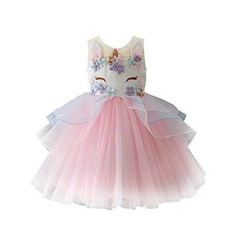 yeesn Girls Princess Unicorn Costume Tulle Tutu Dress Summer Sleeveless Costume Birthday Party Fancy up Dress (Pink, 90cm (Recommend for 2 Yrs Old)) by yeesn