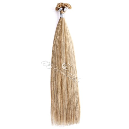 "Ty.Hermenlisa 18"" Silky Straight Fusion Nail U Tip Hair Extensions 100% Real Virgin Remy Human Hair, 50strands/Pack, 40g, Piano color Light Brown Blonde(#P18.22)"