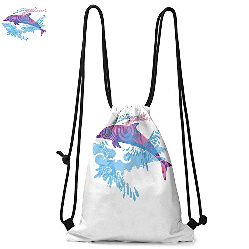 (Sea Animals Made of polyester fabric Dolphin Figure with Colorful Patterns Underwater Sea Life Illustration Waterproof drawstring backpack W13.8 x L17.7 Inch Blue Purple Pink)
