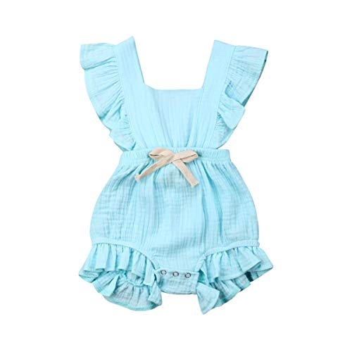 ITFABS Newborn Baby Girl Romper Bodysuits Cotton Flutter Sleeve One-Piece Romper Outfits Clothes (Sky Blue, 0-6 Months)